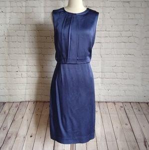Hugo Boss purple satin pleated sheath dress 10